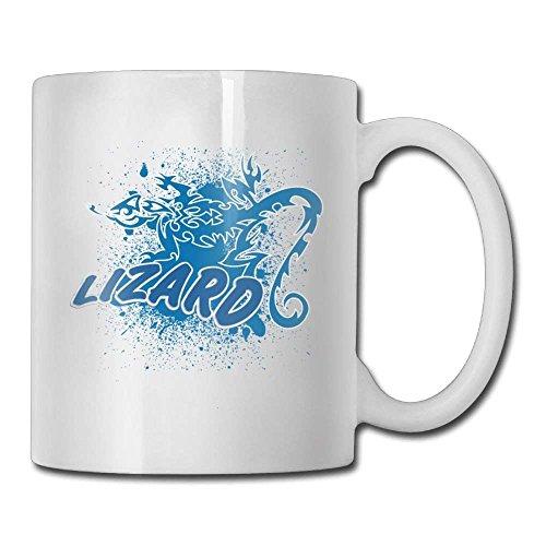 Nisdsgd Lizard Coffee Mugs 11 Oz Birthday Gift Ceramic Tea Cup for Family and Friend 3.14W x 3.74H(8x9.5cm) 16 Oz Tall Iced Tea