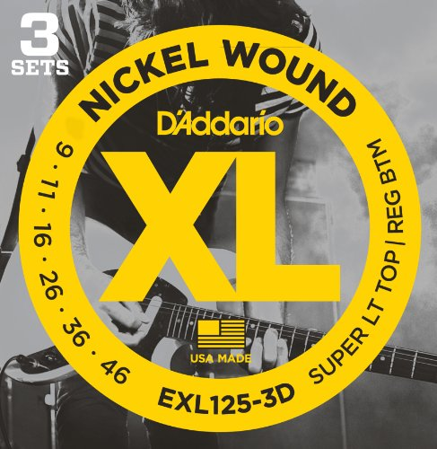 D'Addario EXL125-3D - Juego de cuerdas para guitarra eléctrica de acero y níquel, .009 - .046