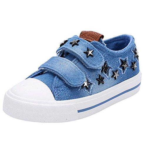 Scothen Kids Schuhe für Unisex Turnschuhe Canvas Kinder Schuhe Denim Laufen Sport Baby Turnschuhe Mädchen Jungen Sneaker Leinenschuhe Segeltuchschuhe Low Top Schuhe Laufen Sport Baby Turnschuhe Blau