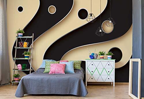 Wallsticker Warehouse Auszugs-Muster-Schwarz-Creme Fototapete - Tapete - Fotomural - Mural Wandbild - (2611WM) - XXXL - 416cm x 254cm - VLIES (EasyInstall) - 4 Pieces (Tapete Und Creme Schwarz)