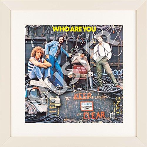 LP Vinyl Cover Rahmen zum Aufhängen in elfenbein mit Passepartout in weiß - Wechselrahmen aus Glas und Holz für Schallplatten Album Plattencover - quadratisch