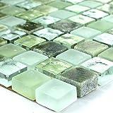 Glas Marmor Mosaik 15x15x8mm Grün Mix