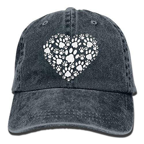 Funny Men and Women Heart of Dogs Paws-1 Vintage Jeans Baseball Cap - Funny New Vine Best