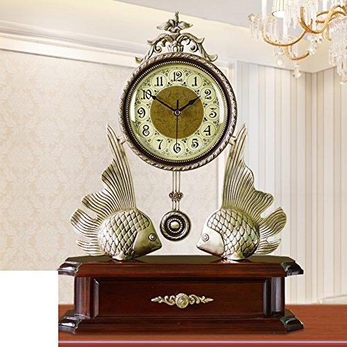 Europeo antiguo salón reloj/ reloj de cobre amarillo grande/Reloj de la decoración de Villa tranquila/dormitorio/ reloj de oscilación creativa moderna-A