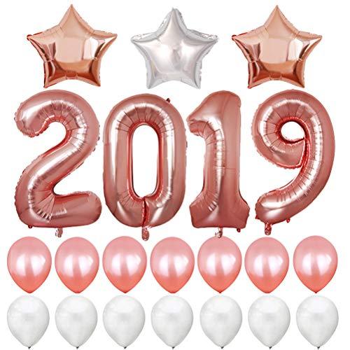 BESTOYARD Silvester Ballons 2019 Zahlen Riesenballons Folienballon Fotorequisiten Luftballon Party Set Neujahr Silvester Deko (Rose Gold) -