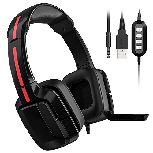 Price comparison product image YaBrave Stereo Gaming Headset,  On-Cable Microphone / Speaker Control,  Soft Protein Earmuff,  with Audio Plug and USB Plug,  for PC,  Tablet,  Laptop,  iPad,  Smartphone