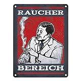 trendaffe - Metallschild mit Raucherbereich rauchender Gentleman Motiv