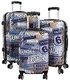 Trendyshop365 Koffer-Set Hollywood Broadway Hartschale 3-teilig Bunt