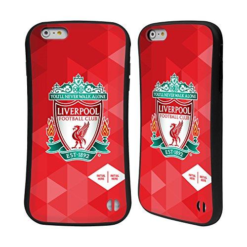 Personalizzata Personale Liverpool Football Club Liver Bird Marmoreo 2017/18 Logo Case Ibrida per Apple iPhone 6 / 6s Cresta Geometrico Rosso