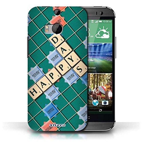 Kobalt® Imprimé Etui / Coque pour HTC One/1 M8 / Patience Vertu conception / Série Mots de Scrabble Jours Heureux
