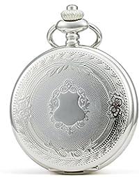 SEWOR - Reloj de bolsillo clásico, acabado liso, movimiento mecanizado a mano, viene en caja de regalo de piel (blanco)