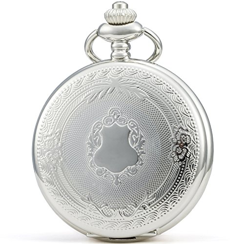 SEWOR Klassische Taschenuhr, gemustertes Gehäuse, Mechanisches Uhrwerk mit Handaufzug, Geschenkbox aus Leder (Weiß)
