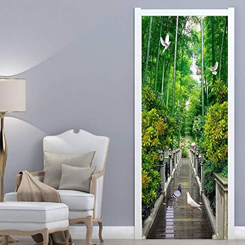 Fototapete Türfolie Poster Tapete Bambus-Wald-Landschaft Türtapete Selbstklebend Türposter Wandtapete Zum Schlafzimmer Wandaufkleber 90X210Cm