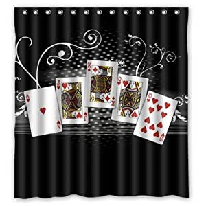 new poker karten duschvorhang 12 l chern um die ringe. Black Bedroom Furniture Sets. Home Design Ideas