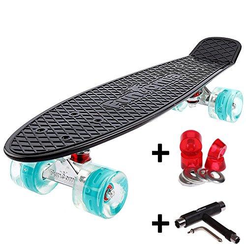 FunTomia® Mini-Board 57cm Skateboard mit oder ohne LED Leuchtrollen inkl. Aluminium Truck und ABEC-11 Kugellager in verschiedenen Farben zur Auswahl T-Tool (Deck in schwarz / Rollen in petrol mit LED + T-Tool + Lenkgummis)
