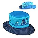 EINSKEY Sombrero Bebe Sol de Verano Plegable para Niños y Niñas de 1 a 2 Años (Azul/Rosado)