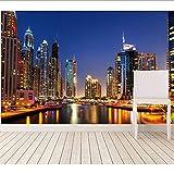 Cczxfcc Benutzerdefinierte 3D Wandbilder. Dubai Wolkenkratzer Flüsse Nacht Stadt Moderne Wandgestaltung Wohnzimmer Sofa Tv Wand Schlafzimmer PapelDer Wand-450Cmx300Cm