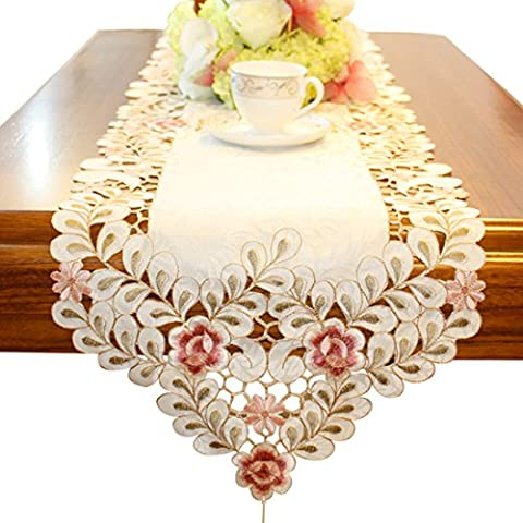 Embroidered flowers table runner light yellow