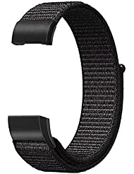 FINTIE For Fitbit Charge 2 Strap, Nylon Sport Loop Breathable Nylon Replacement Wristband with Adjustable Closure for Fitbit Charge 2, Black