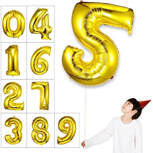 Takefuns Globos de la Letra del Número Gigante DE 40 Pulgadas Globo de Mylar de la Hoja de Helio para Las Decoraciones de la Fiesta de Cumpleaños de la Boda, Plata Brillante, Número 5