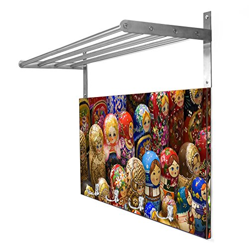 Coat Rack Brown with Hat Shelf and Motif: