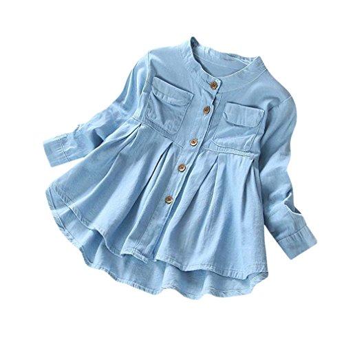 Uomogo® bambina blusa ragazze vestito tinta unita maniche lunghe pulsanti camicia di jeans tenere caldo cappotto denim t-shirt 3-8 anni (età: 5 anni, blu)