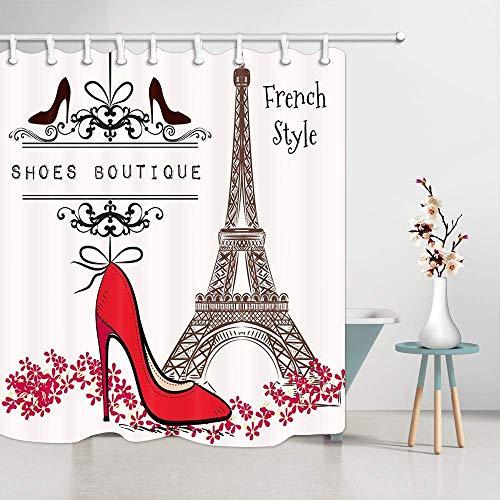 JAWO Creative Eiffelturm-Duschvorhang, rote High Heels und Paris France City Wahrzeichen Schild, Wasserdichte Badezimmer-Dekoration, Polyester-Stoff, Badvorhänge, Haken, 177,9 x 177,8 cm -