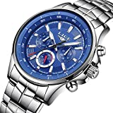 LIGE Uhren Herren Luxusmarke Sport Wasserdicht Analog Quarzuhr Männer Edelstahl Mode Armbanduhr Mann Blau Uhr