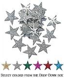 24, 25 mm, Stern, Glitzer, zum Aufbügeln silber