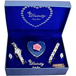 Divinity Ladies Watch & Bracelet Jewellery Blue Heart I Love You Xmas Gift Set