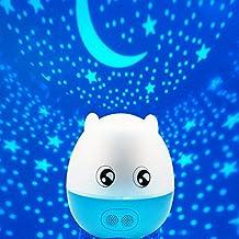 Locisne Forma cerdo precioso 5 colores LED RGB que cambia de color 4-en-1 Estrella / Amor / Océano / cumpleaños giratorio de la noche del proyector de luz Mesa de luz, construido en el altavoz Bluetooth con control Romote gran decoración de la habitación del bebé Regalo para los niños del cabrito (cáscara azul)