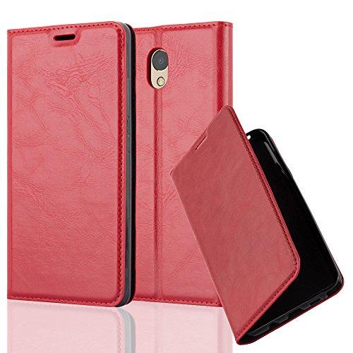 Cadorabo Hülle für Lenovo P2 - Hülle in Apfel ROT – Handyhülle mit Magnetverschluss, Standfunktion und Kartenfach - Case Cover Schutzhülle Etui Tasche Book Klapp Style