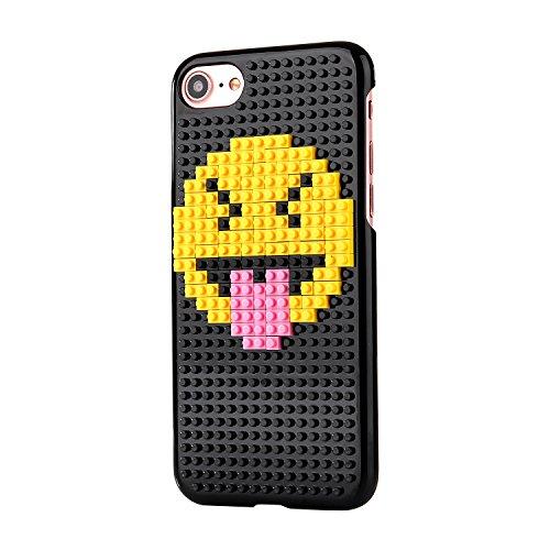 Liamoo® Apple iPhone 7 Baustein-Hülle / Schurzhülle / selber - bauen / gestalten / design / ausgefallen / Muster / Lachen mit Herz Zunge