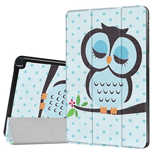 Smart Case für Samsung Galaxy Tab A 10.1 SM-P580/SM-P585 Cover mit S Pen Version, Cartoon Design Trifold Stand Ultra Dünn Schutzhülle Leder Folio Magnetic Auto Sleep Wake, Blue Cute Owl Wireless Pen Kamera