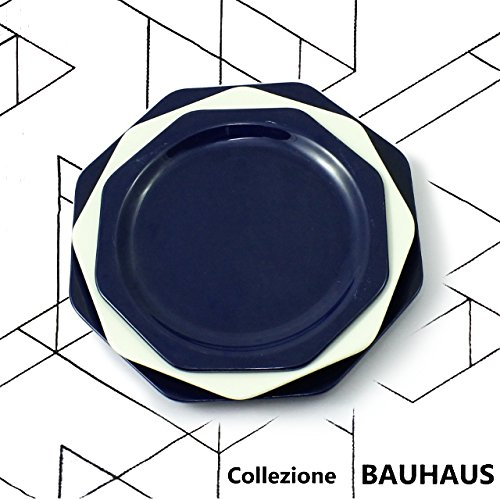cartaffini – Collection Bauhaus – Place Table Bleu – 3 Assiettes octogonales : Assiette, Assiette Creuse, Assiette à dessert