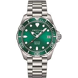 Certina Men's DS-Action 41mm Steel Bracelet & Case Quartz Green Dial Analog Watch C032.410.11.091.00