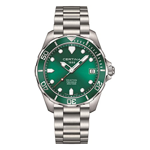 Image of Certina Men's DS-Action 41mm Steel Bracelet & Case Quartz Green Dial Analog Watch C032.410.11.091.00