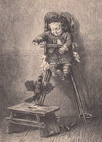 Kinder - Was sich liebt, das neckt sich. Kleinkind im Hochstuhl sitzend ärgert eine Krähe. [Grafik]