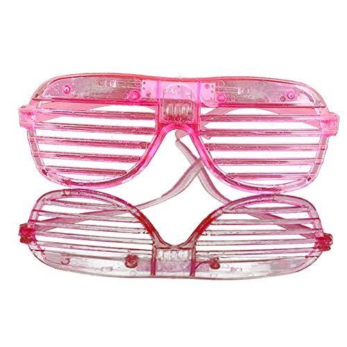 NiceButy 2Pcs im Dunkeln leuchten LED-Gläser Masse leuchten Rave Glasses Halloween Neon Party Supplies Bevorzugungen, Shutter Shades Brille Pink (mit Akku)