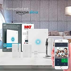 Multi Kon Trade® Funk-Alarmanlage Komplettsystem Einsteiger Set mit HD WiFi Kamera, Funk-Tür-/Fensterkontakt und Fernbedienung I WLAN Alarmanlagen Set mit Kamera, Alexa und App Steuerung