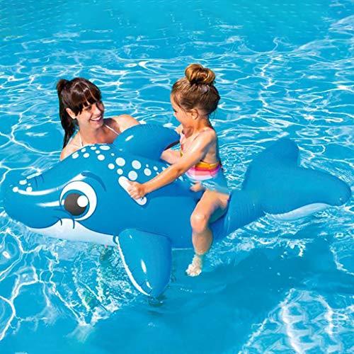 chwimmt für Kinder Schwimmbadzubehör Cartoon-Schwimmring Wasser aufblasbares Spielzeug Schwimmendes Bett für die Sommerferien Pool-Party Reise (Blauer Delphin) ()