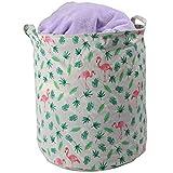 OSSAW Wäschekorb groß multifunktionaler Aufbewahrungsbox Wäschebox Wäschesammler weißes Wäschesack Kinderzimmer Aubewährungskorb mit Wasserdichter Beschichtung 35 * 45 Flamingo-rosa grün