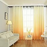 Hoomall Blickdicht Ösenvorhang Farbverläufen Gardinen für Schlafzimmer Kinderzimmer Ösenschal Dekoschal Gardine B*H 140*245cm 1er set Gelb