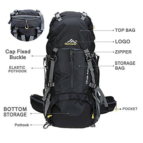 Imagen de 50l senderismo de daypacks  de deportes al aire libre  de senderismo  bolsas bolsa resistente al agua para acampar pesca viajes escalada alpinismo ciclismo esquí negro  alternativa