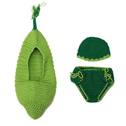 Goodplan Baby häkeln Stricken Schlafsack Bohne geformt säuglingskleinkind Schlaf Sack Fotografie kostüm Requisiten für Baby grün 1 ()