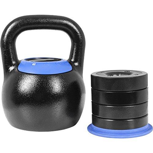 GORILLA SPORTS® Kettlebell verstellbar 16-24 kg - Kugelhantel mit 5in1 Gewichtsvarianten