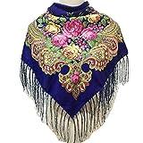 Adisaer Halstuch Herren Baumwolle Baumwollrussischer Nationaler Wind Baotou Schal Schal Frauen Mode Druck Quasten Schal Quadrat Sapphire Für Damen