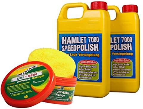 Hamlet 7000 Speedpolish Nano-Lack-Versiegelung 2x500ml und 1x Obenland Universalreiniger 300g