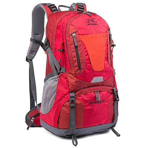 FLKENNEL Alpinismo Zaino, 50L Escursione di Campeggio Zaino Impermeabile con la Copertura della Pioggia, Leggero Trekking Outdoor Zaino Sport per Gli Uomini Donne,Rosso