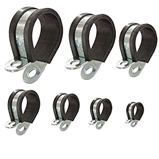 P-clips Rubber lined Steel Pipe Clip Clamp choice: Ø 40mm/band 20mm, 2 pcs
